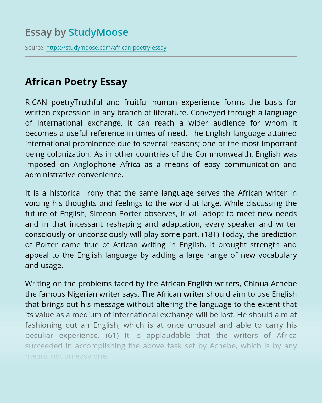 African Poetry