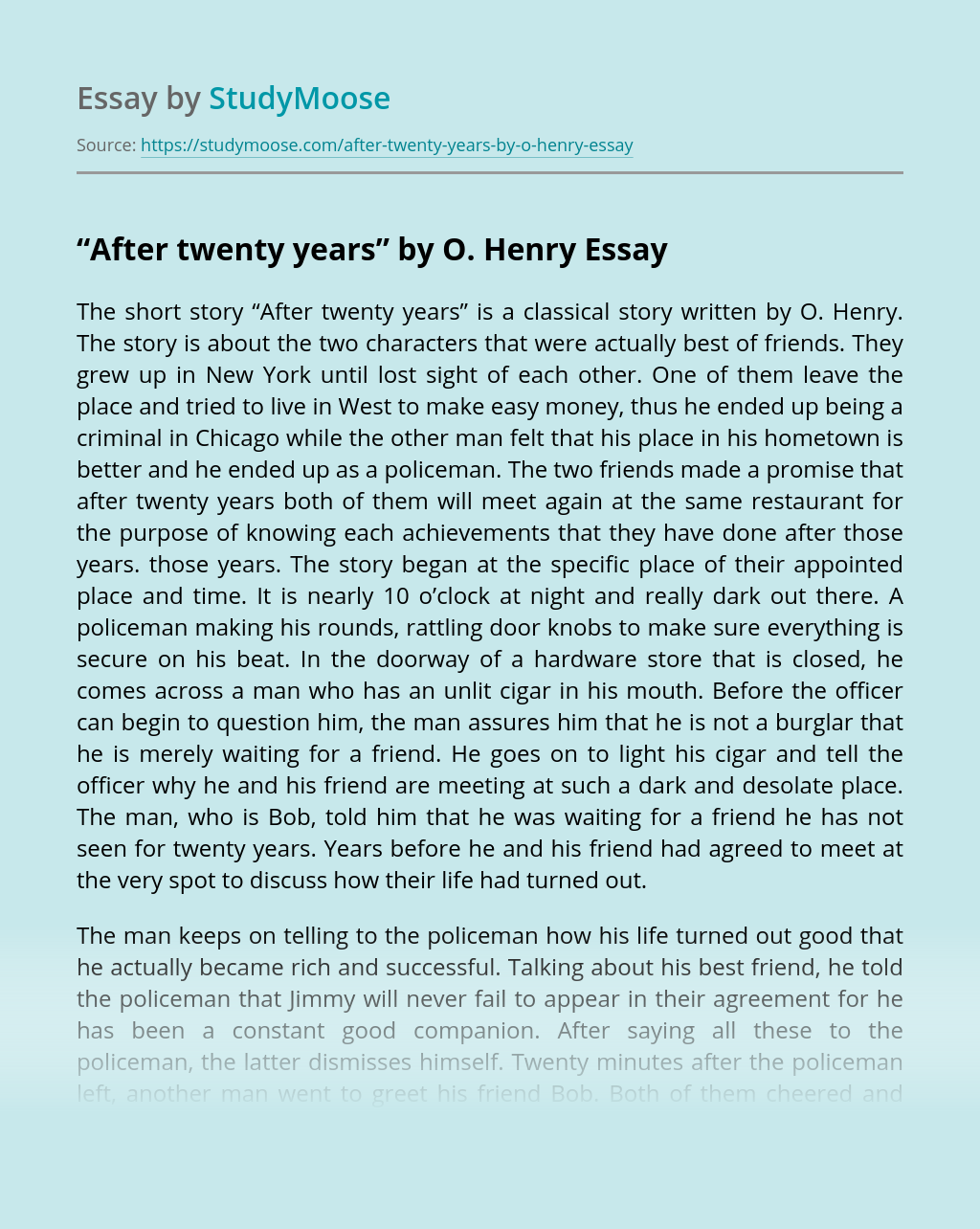 """After twenty years"" by O. Henry"
