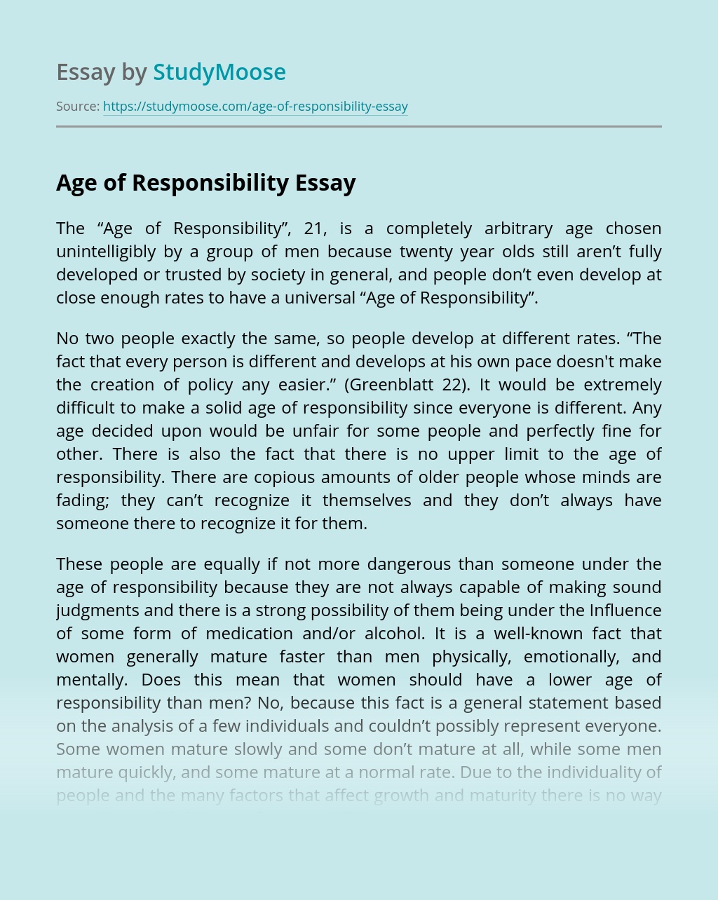 Age of Responsibility