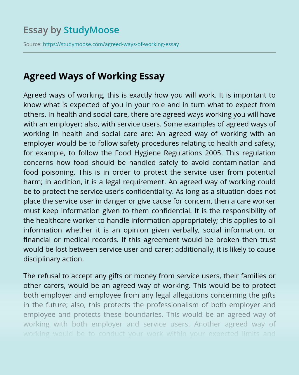 Agreed Ways of Working