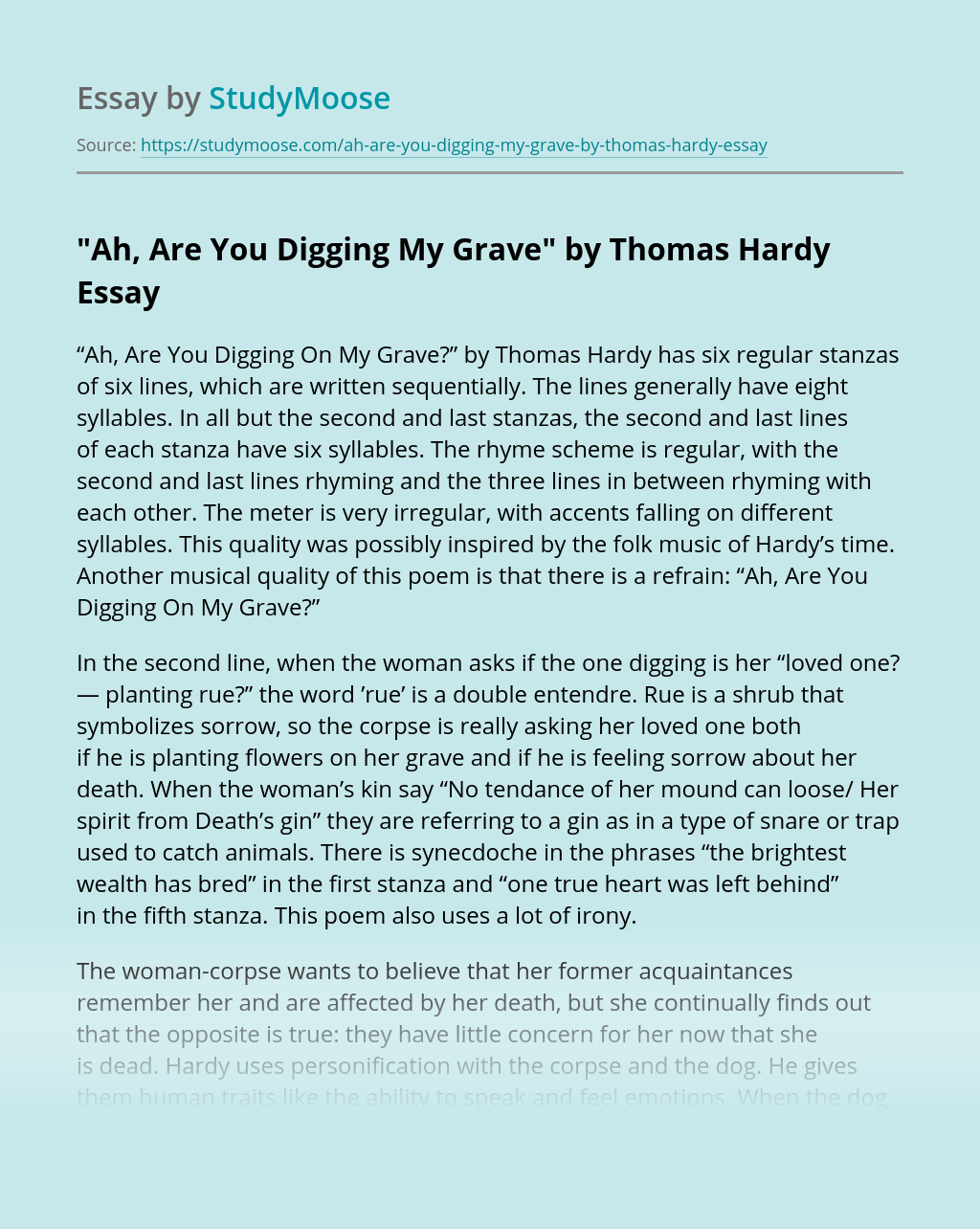 """""""Ah, Are You Digging My Grave"""" by Thomas Hardy"""