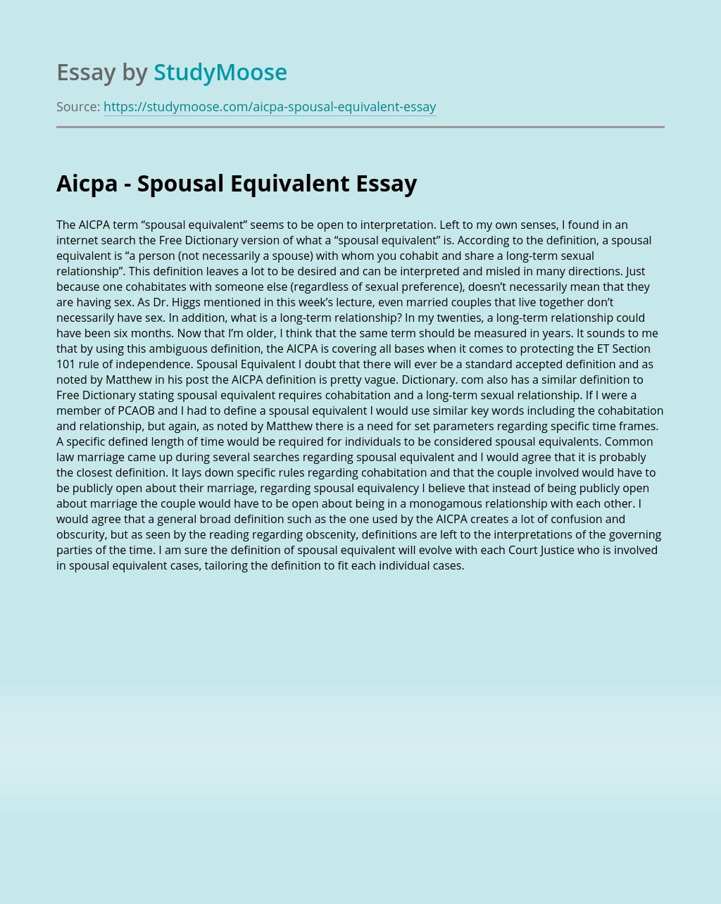 Aicpa - Spousal Equivalent