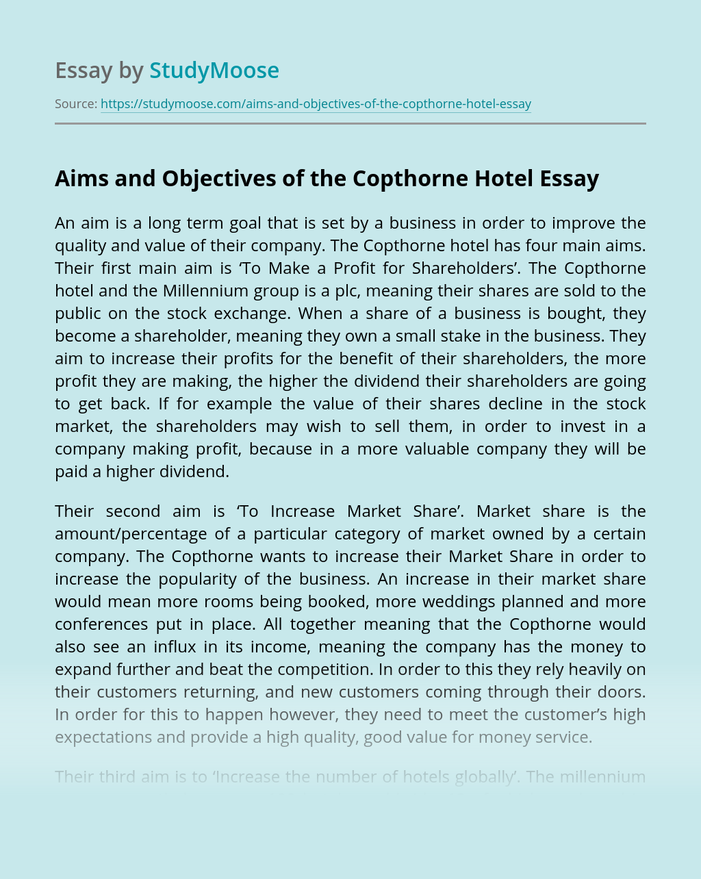 Aims and Objectives of the Copthorne Hotel