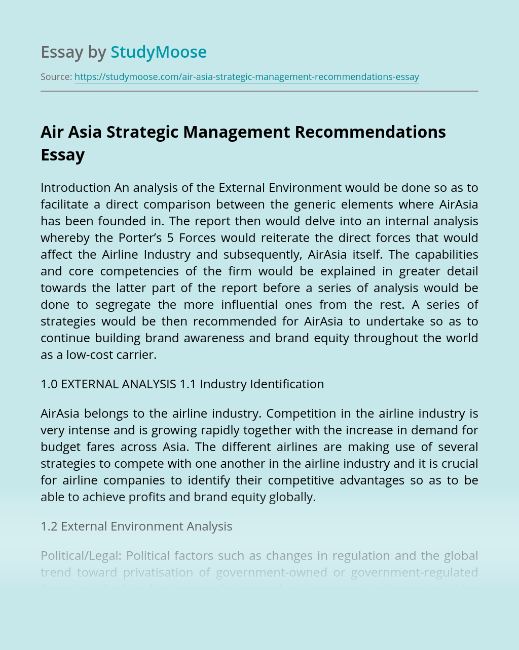 Air Asia Strategic Management Recommendations