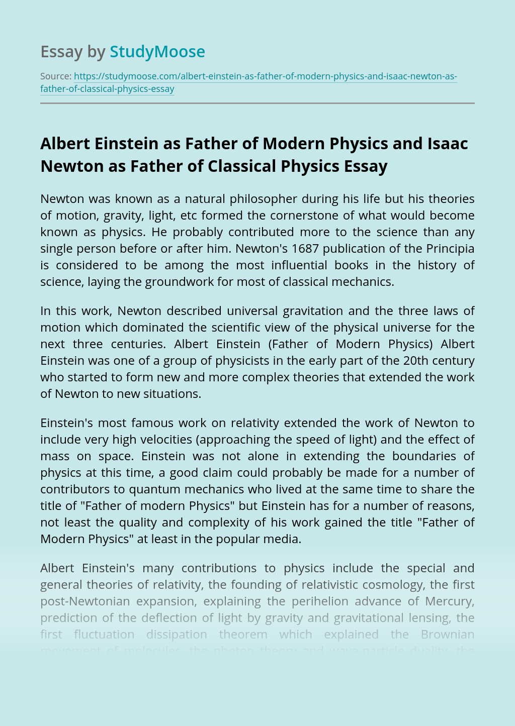 Albert Einstein as Father of Modern Physics and Isaac Newton as Father of Classical Physics