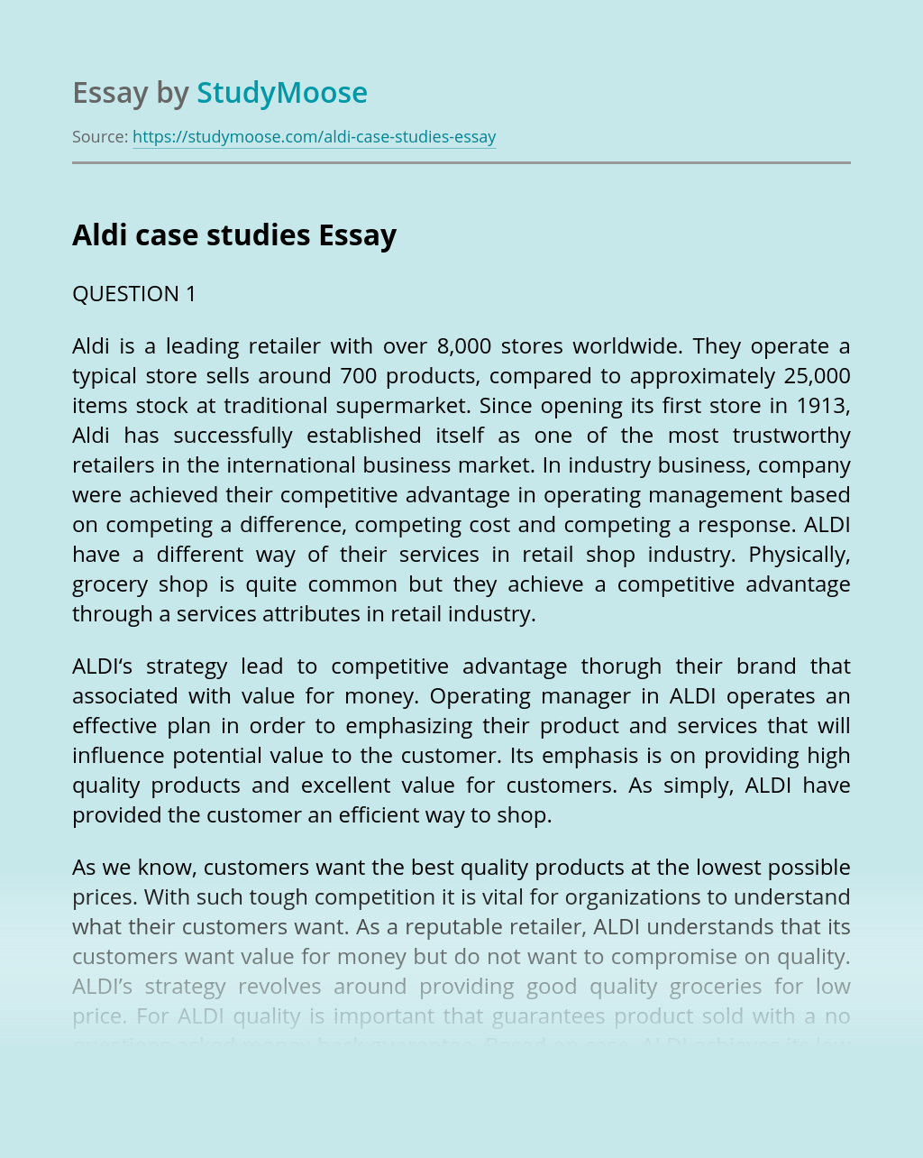 Aldi case studies
