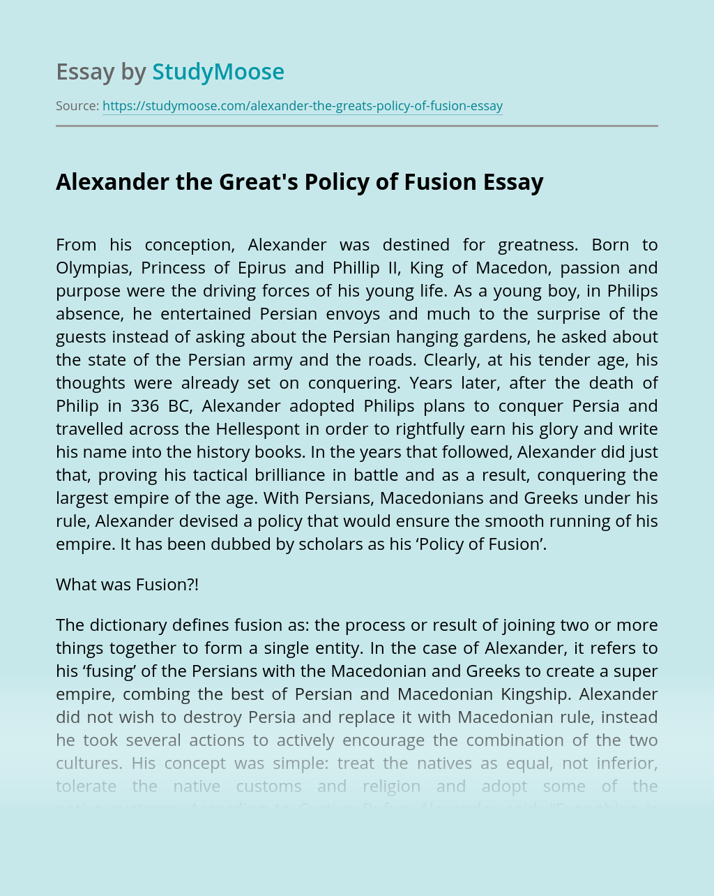 Alexander the Great's Policy of Fusion