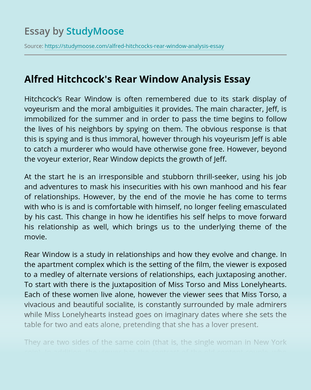"Alfred Hitchcock's ""Rear Window"" Analysis"