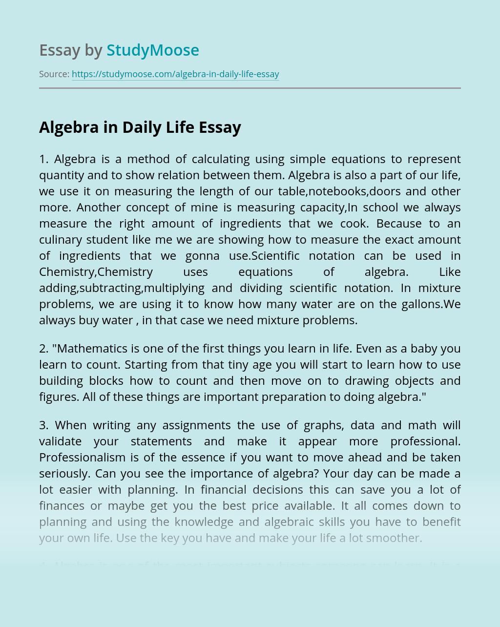 Algebra in Daily Life