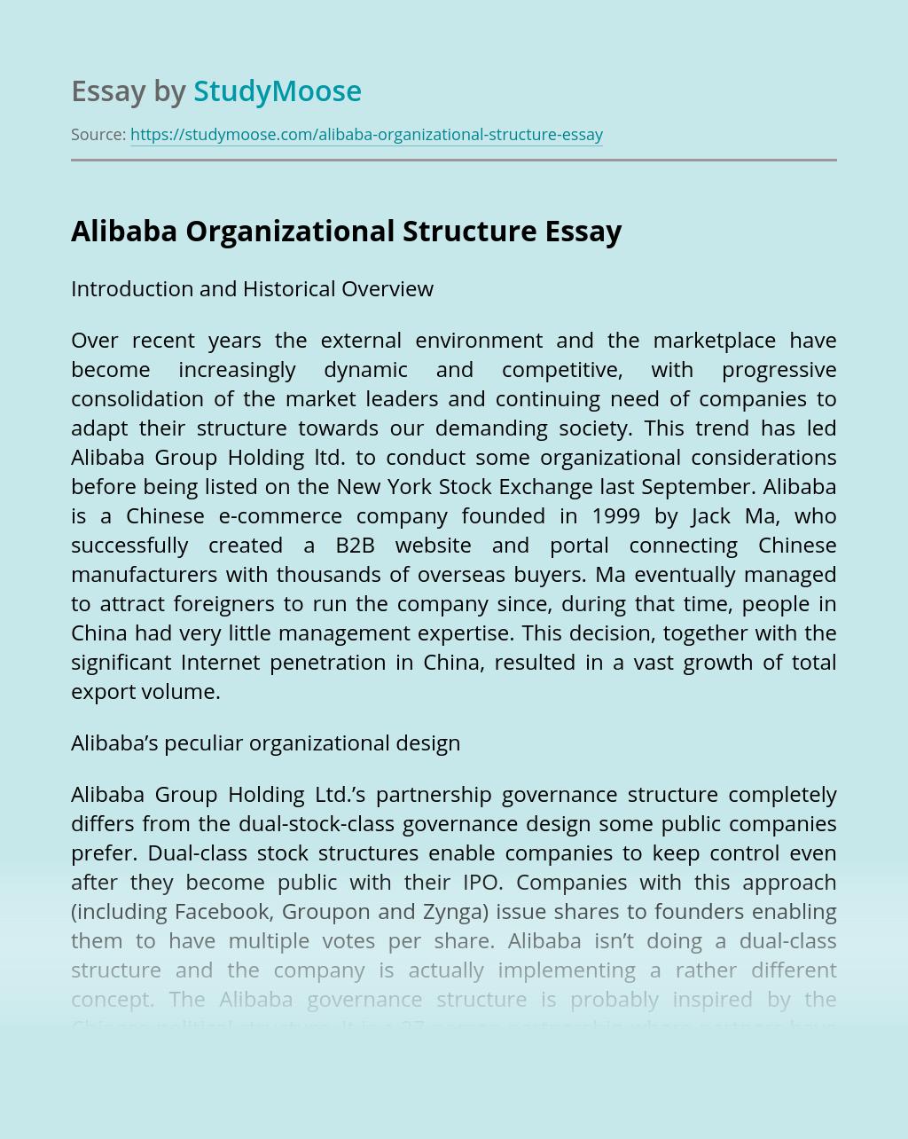 Alibaba Organizational Structure