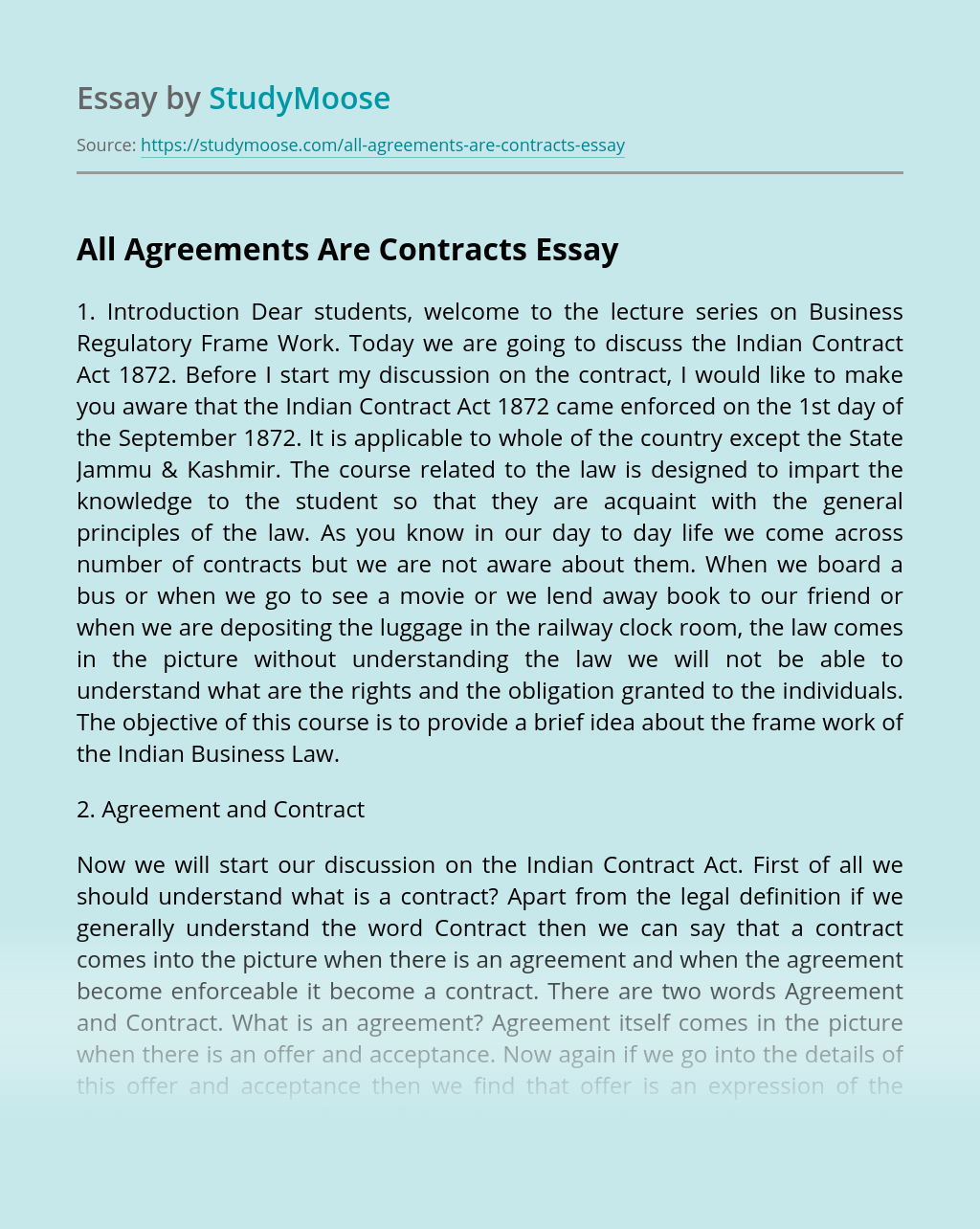 All Agreements Are Contracts