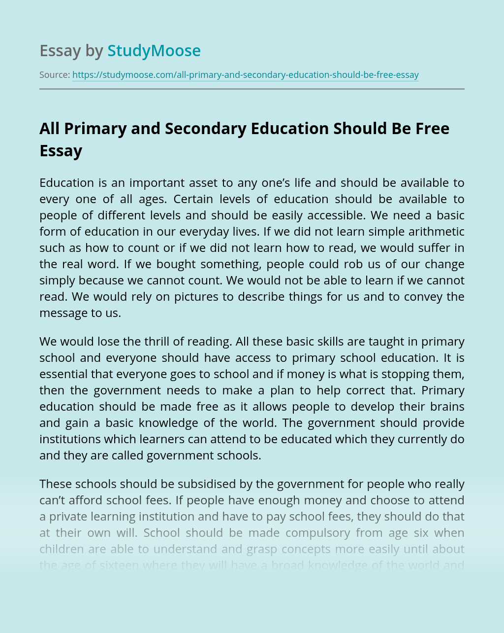 All Primary and Secondary Education Should Be Free