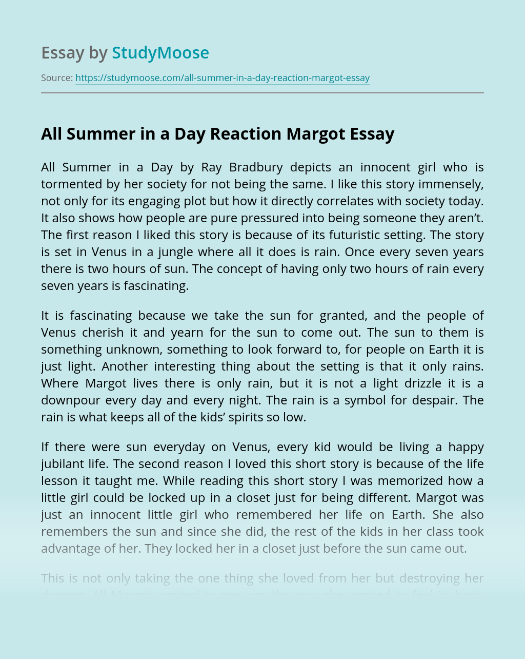 """Margot in """"All Summer in a Day Reaction"""" by Ray Bradbury"""