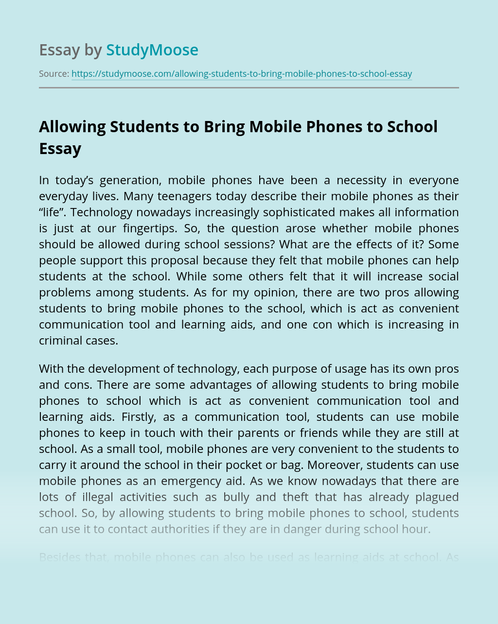 Allowing Students to Bring Mobile Phones to School