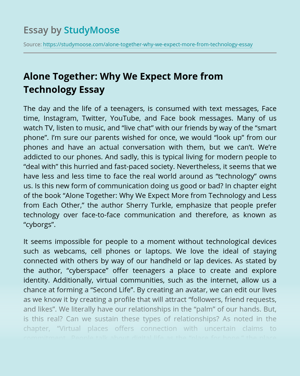 Alone Together: Why We Expect More from Technology