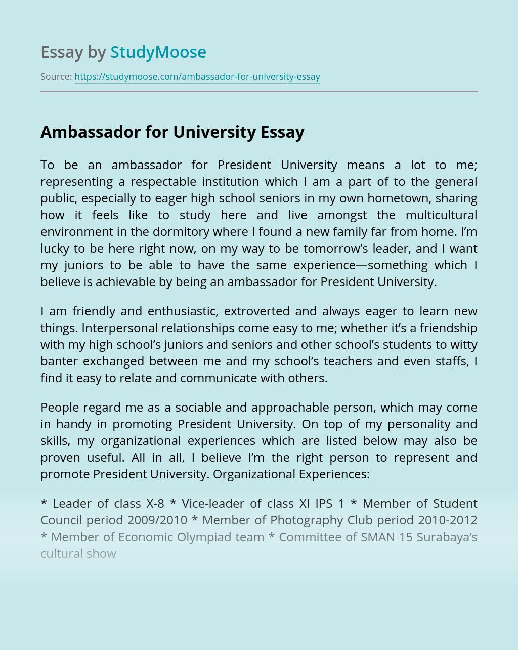 Ambassador for University