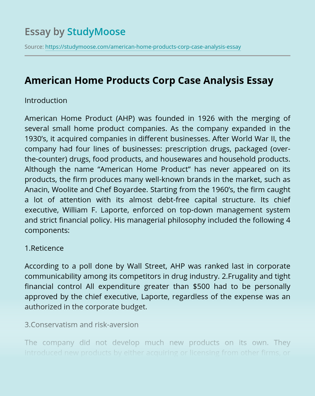 American Home Products Corp Case Analysis