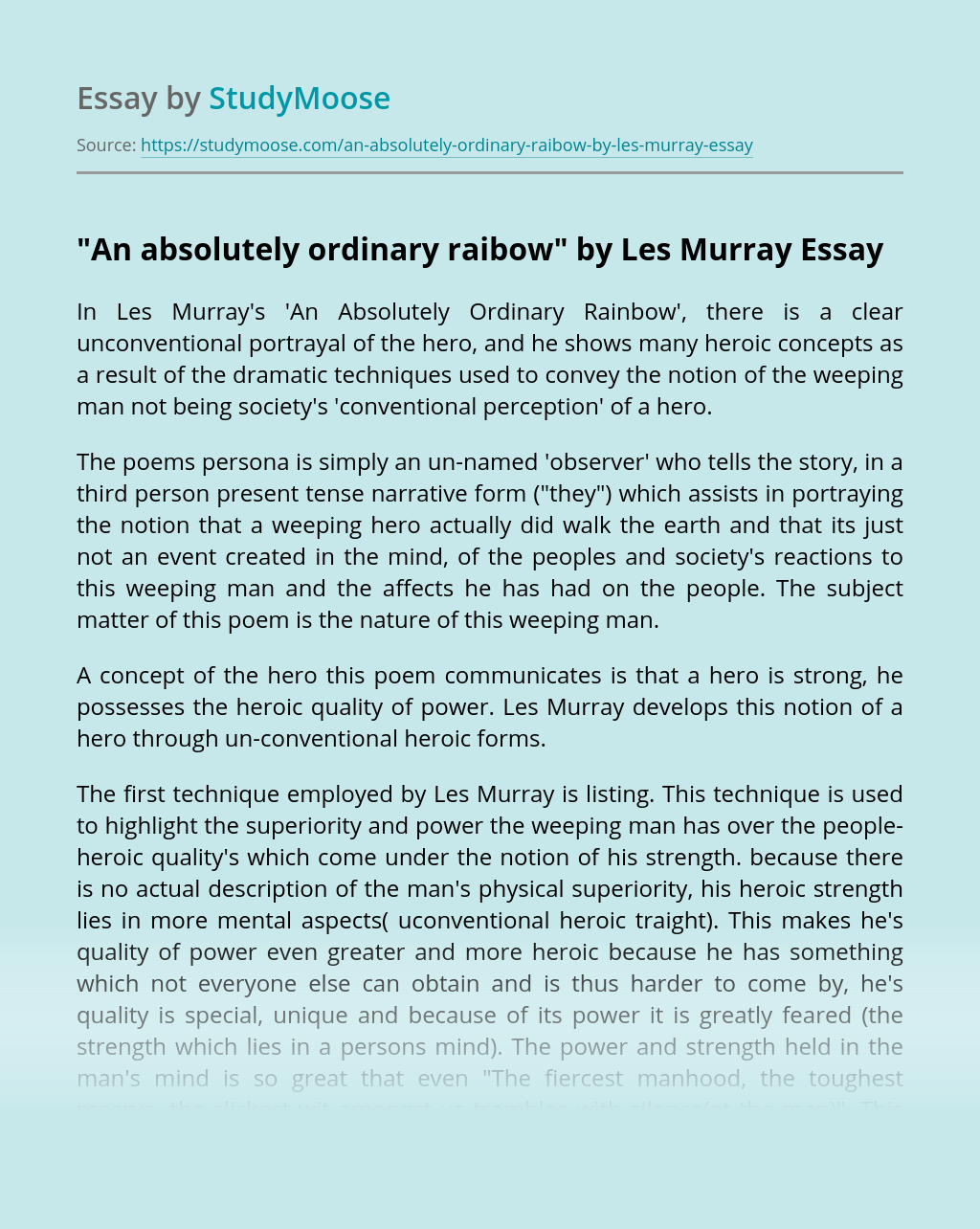 """An absolutely ordinary raibow"" by Les Murray"