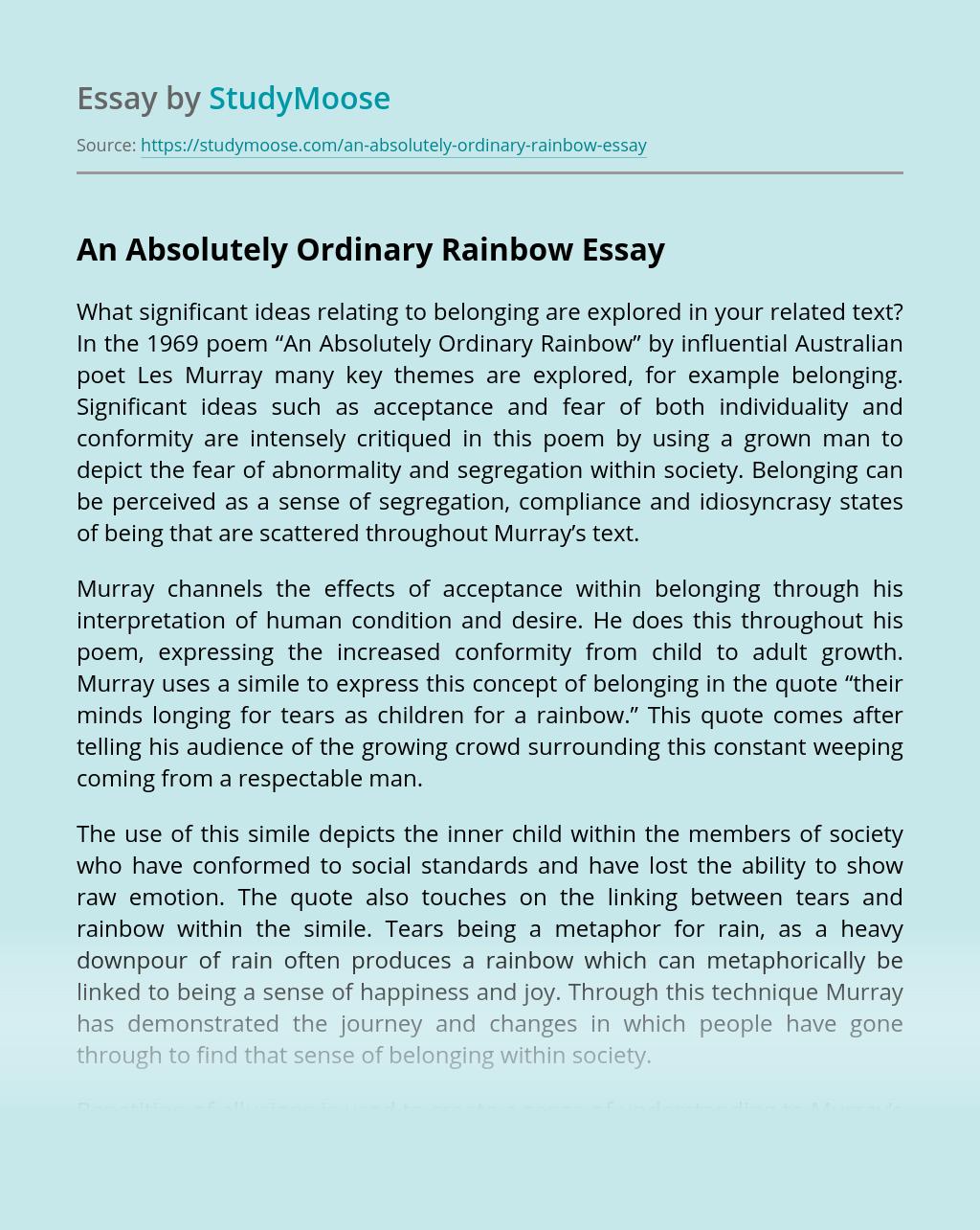 ?An Absolutely Ordinary Rainbow