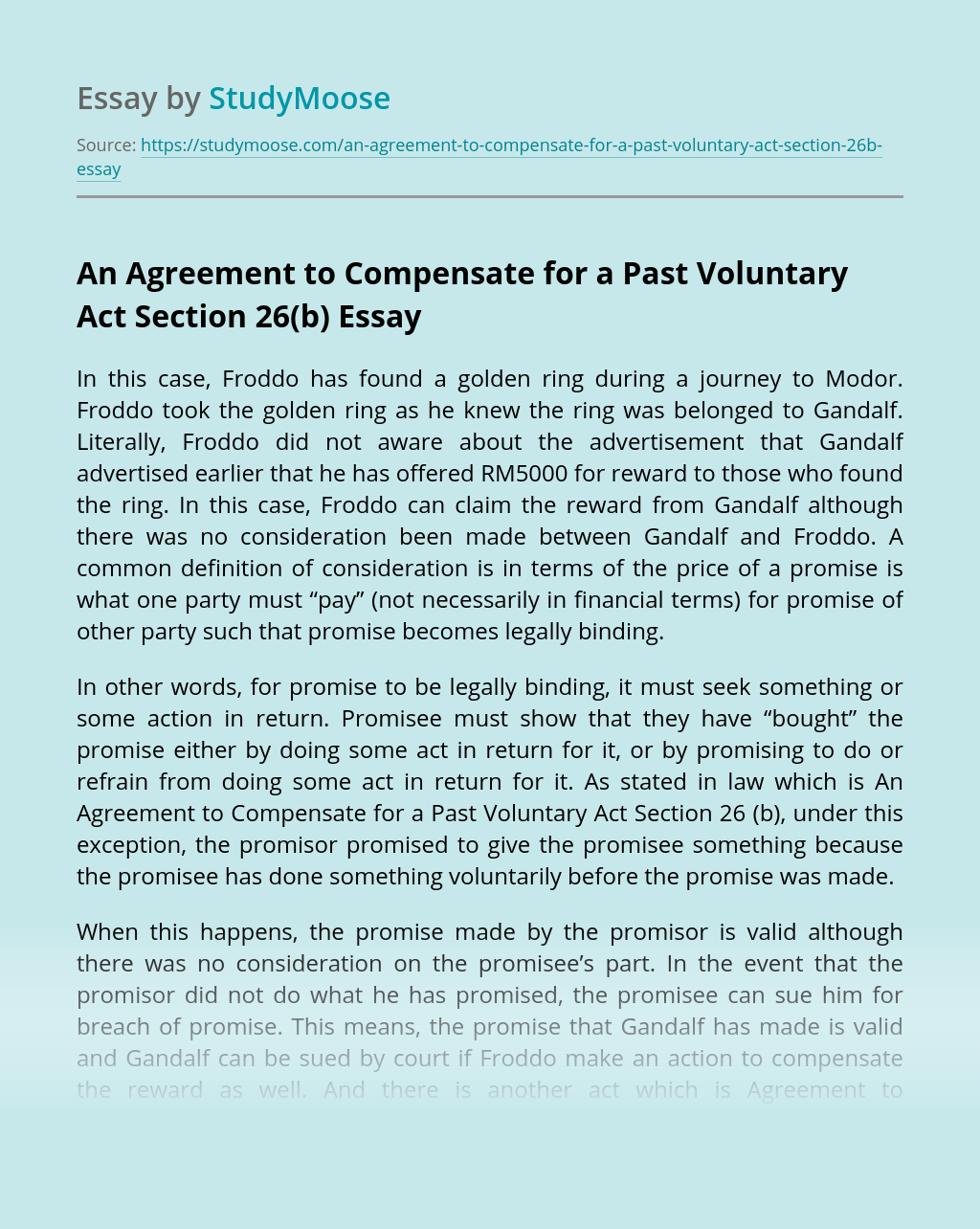 An Agreement to Compensate for a Past Voluntary Act Section 26(b)