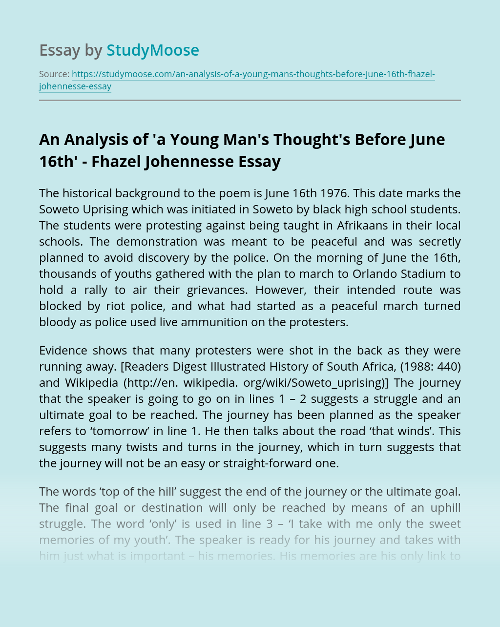 An Analysis of 'a Young Man's Thought's Before June 16th' – Fhazel Johennesse