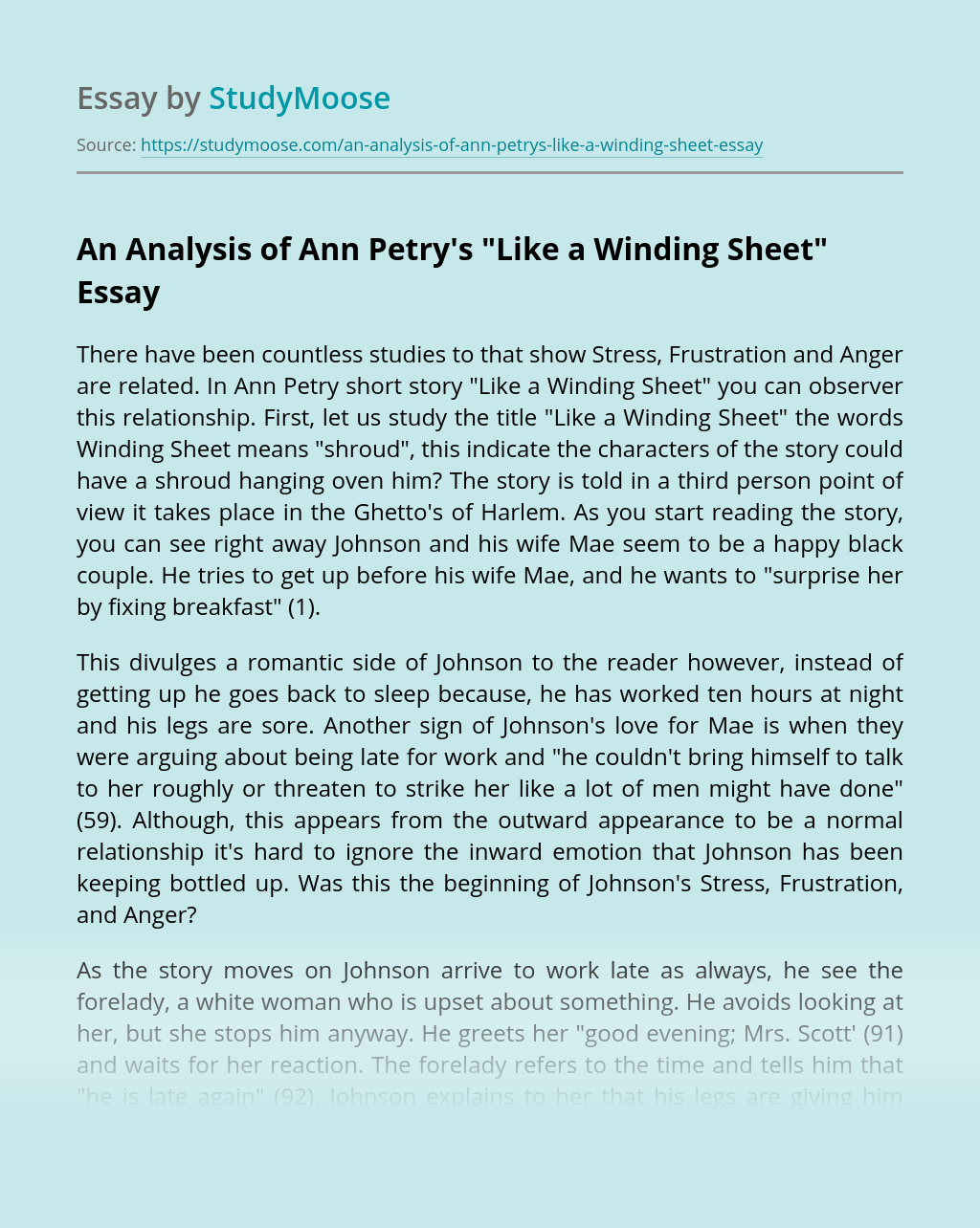 "An Analysis of Ann Petry's ""Like a Winding Sheet"""