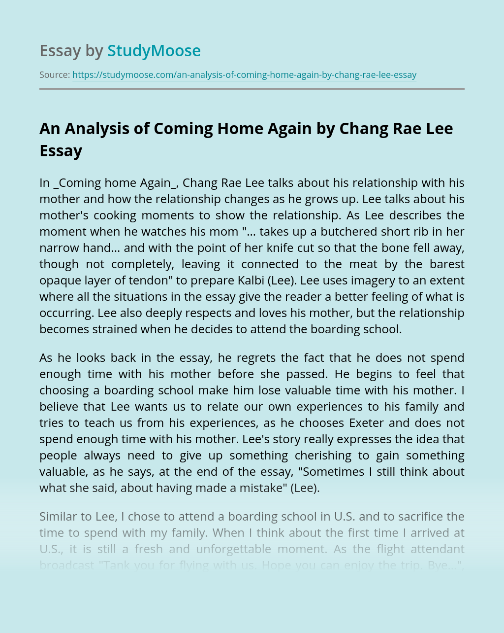 An Analysis of Coming Home Again by Chang Rae Lee