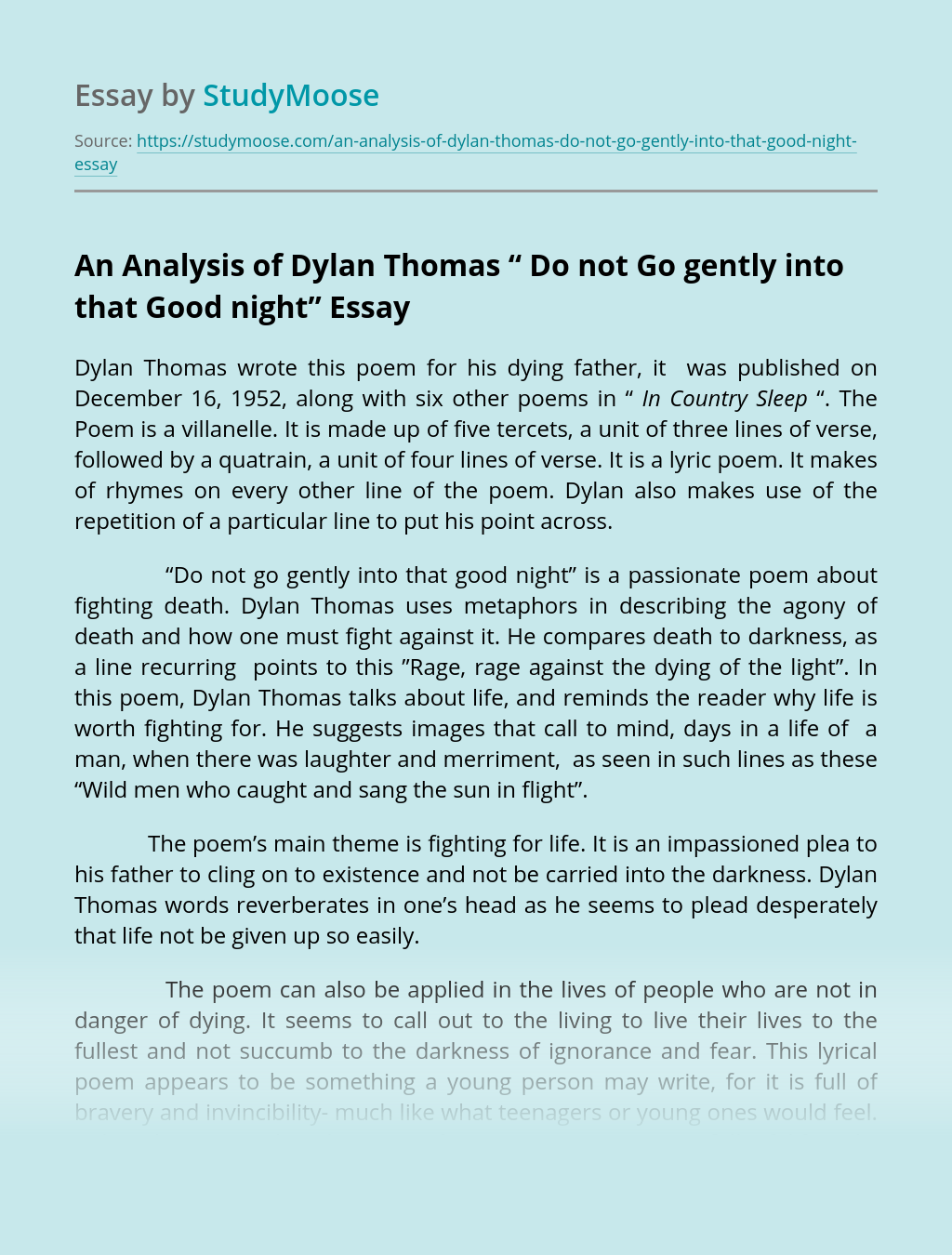 "An Analysis of Dylan Thomas "" Do not Go gently into that Good night"""