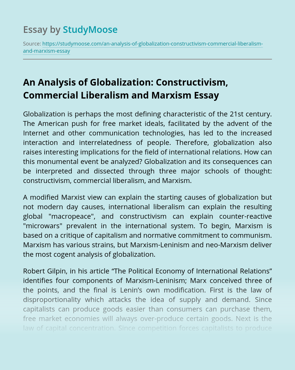 An Analysis of Globalization: Constructivism, Commercial Liberalism and Marxism