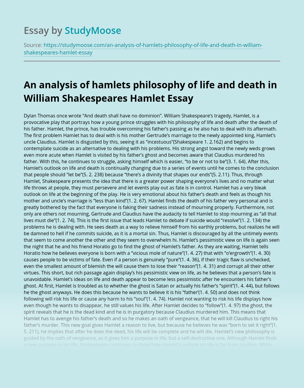 An analysis of hamlets philosophy of life and death in William Shakespeares Hamlet