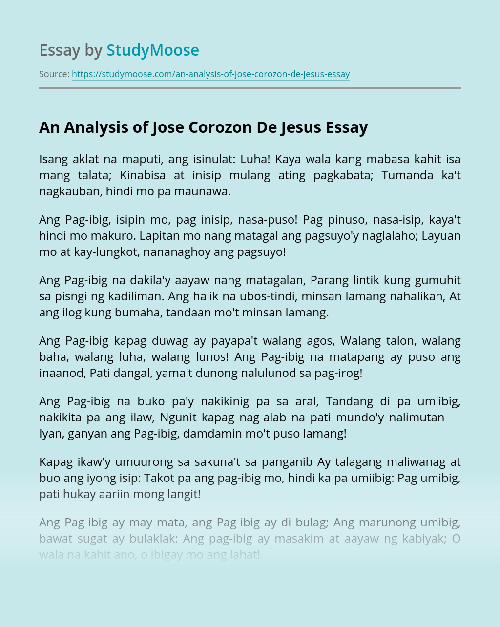 An Analysis of Jose Corozon De Jesus