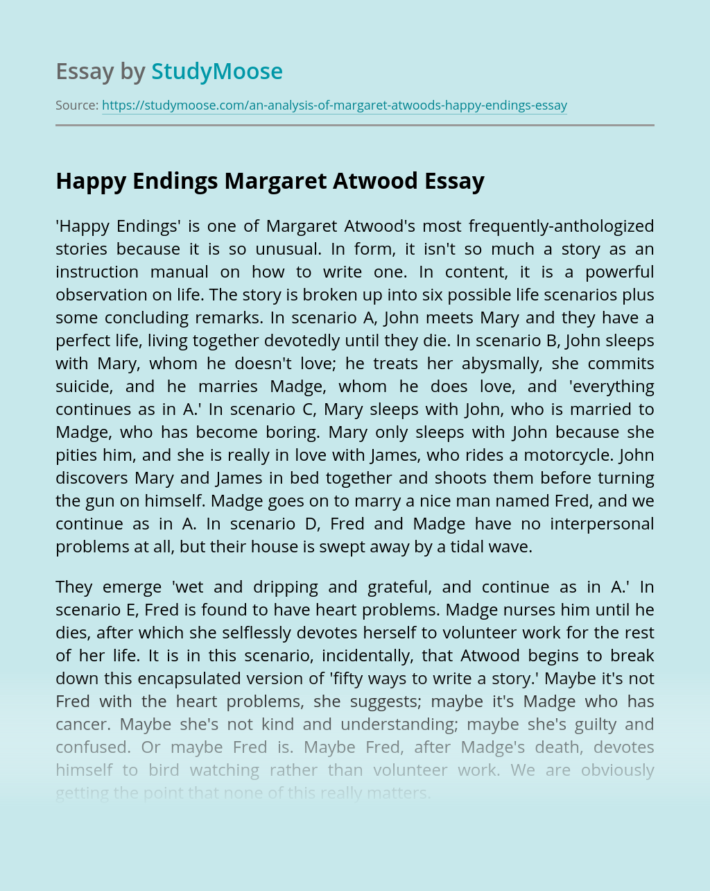 Happy Endings Margaret Atwood