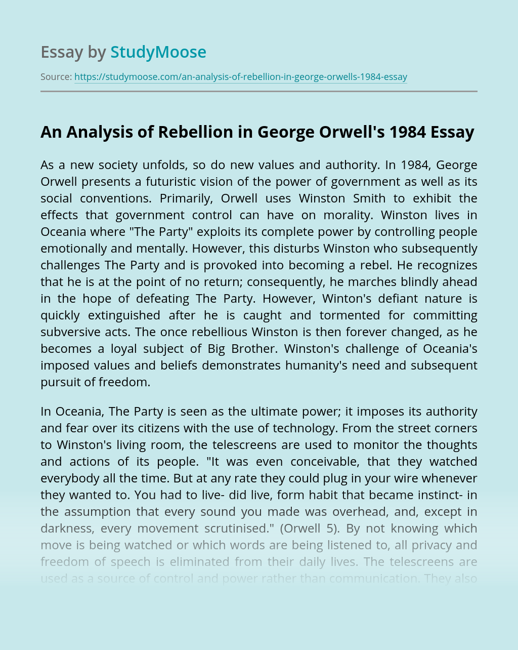 An Analysis of Rebellion in George Orwell's 1984