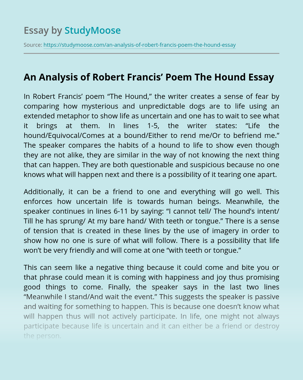 """An Analysis of Robert Francis' """"The Hound"""""""