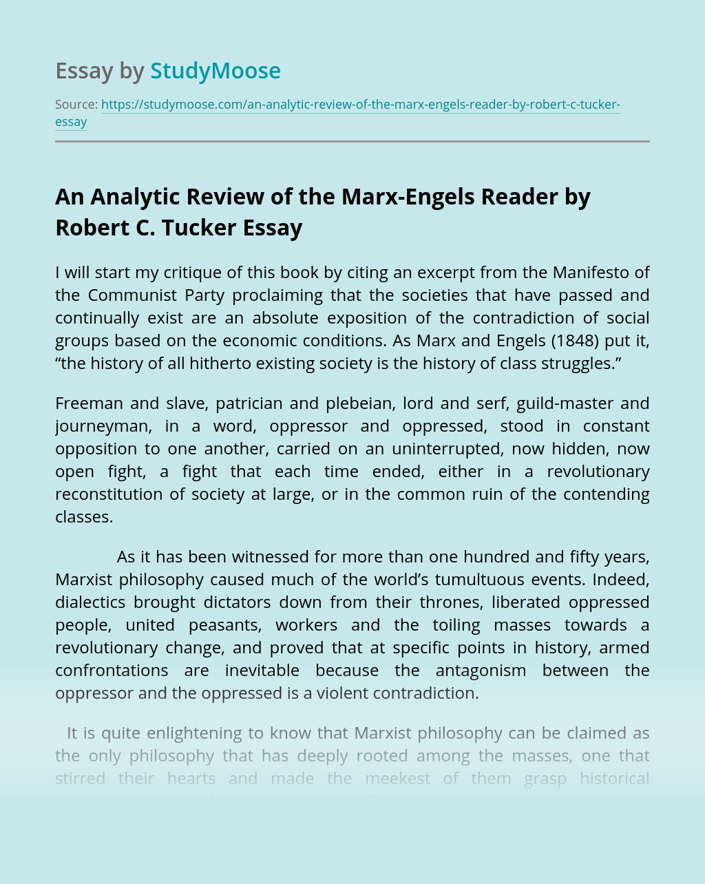 An Analytic Review of the Marx-Engels Reader by Robert C. Tucker