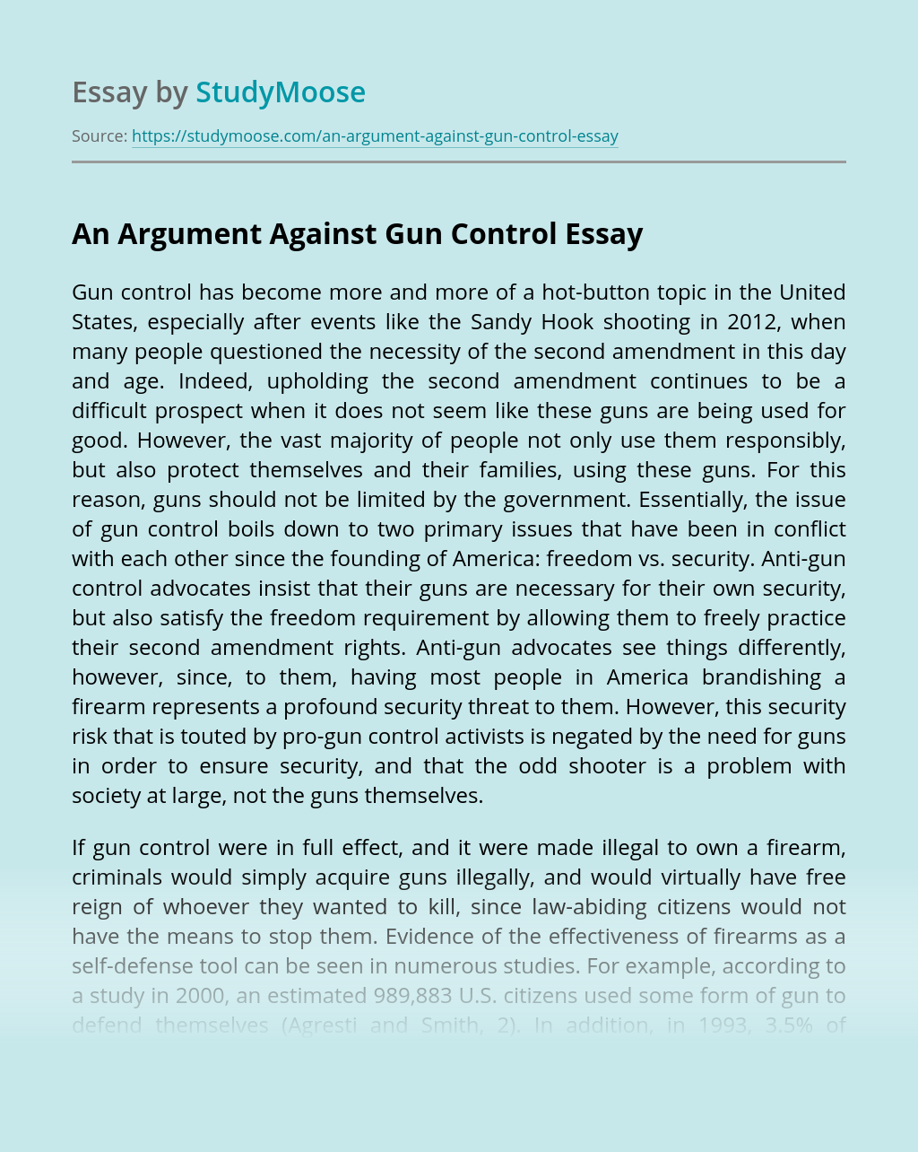 An Argument Against Gun Control