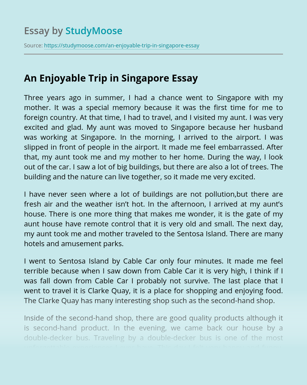 An Enjoyable Trip in Singapore