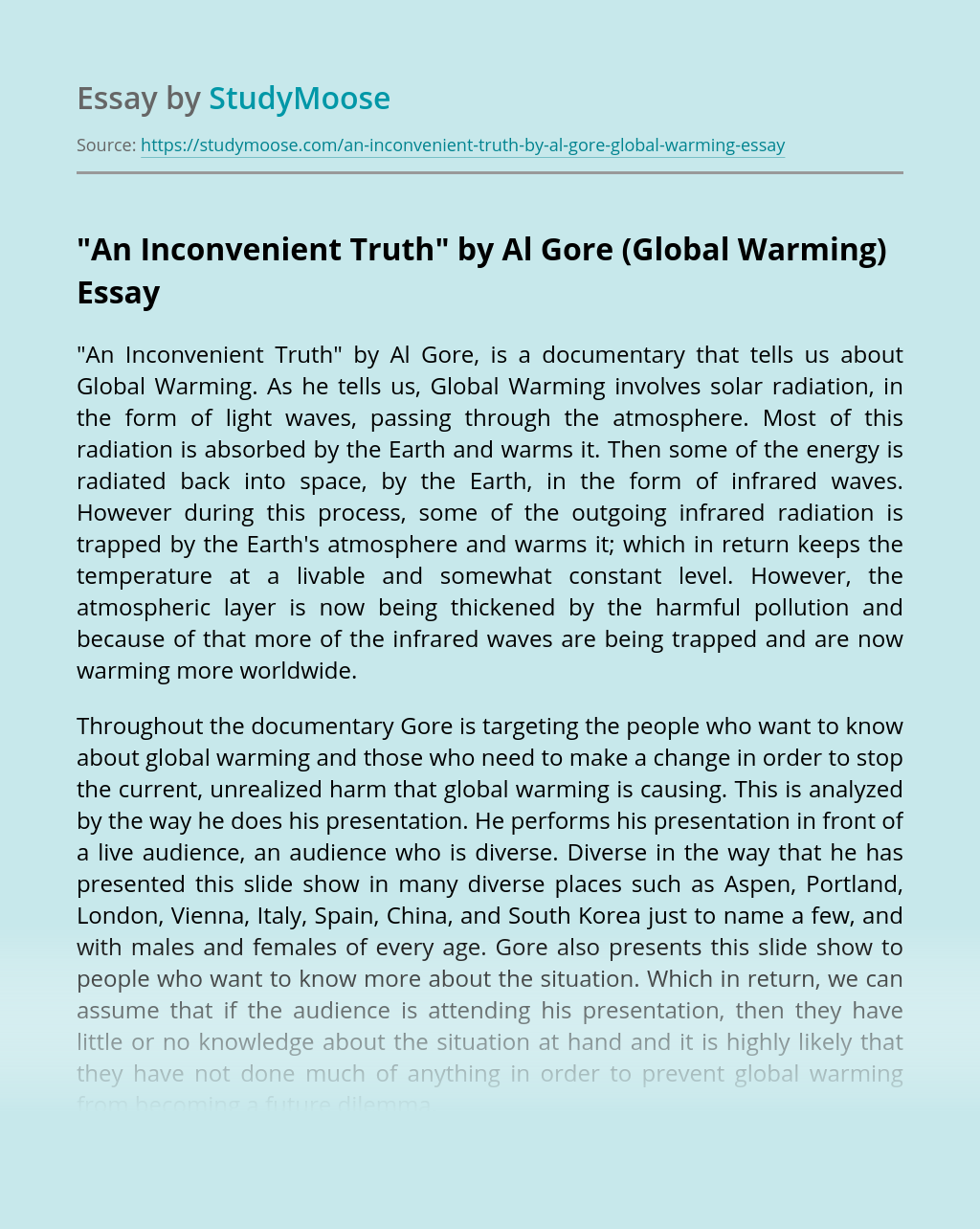 """An Inconvenient Truth"" by Al Gore (Global Warming)"