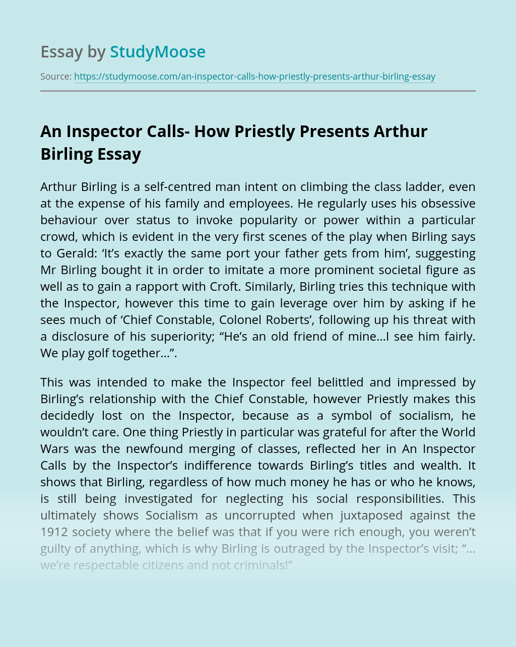 An Inspector Calls- How Priestly Presents Arthur Birling