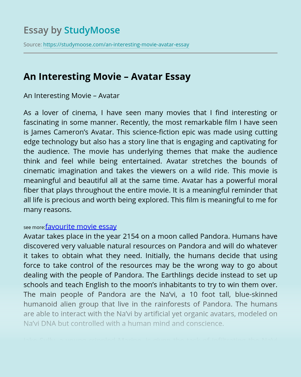 An Interesting Movie – Avatar