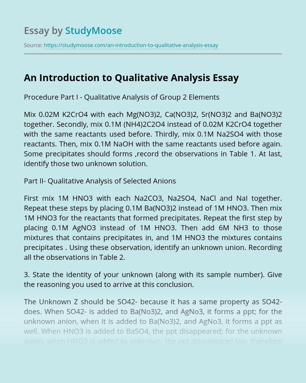 An Introduction to Qualitative Analysis
