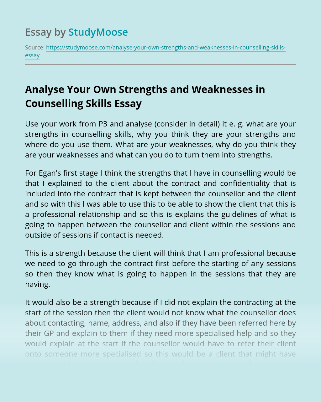 Analyse Your Own Strengths and Weaknesses in Counselling Skills
