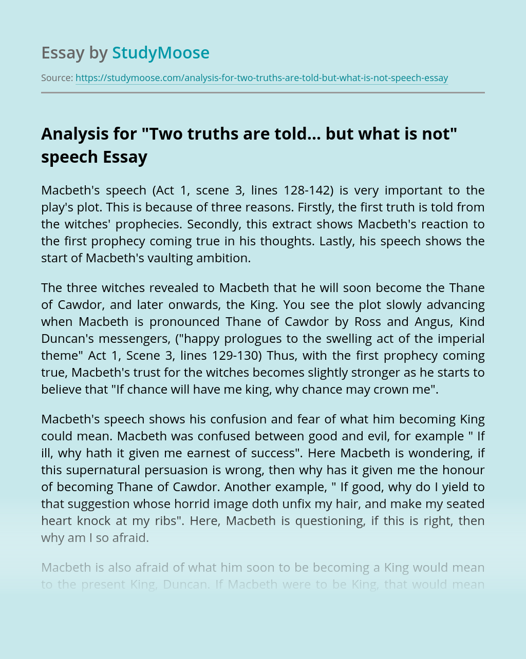"""Analysis for """"Two truths are told... but what is not"""" speech"""
