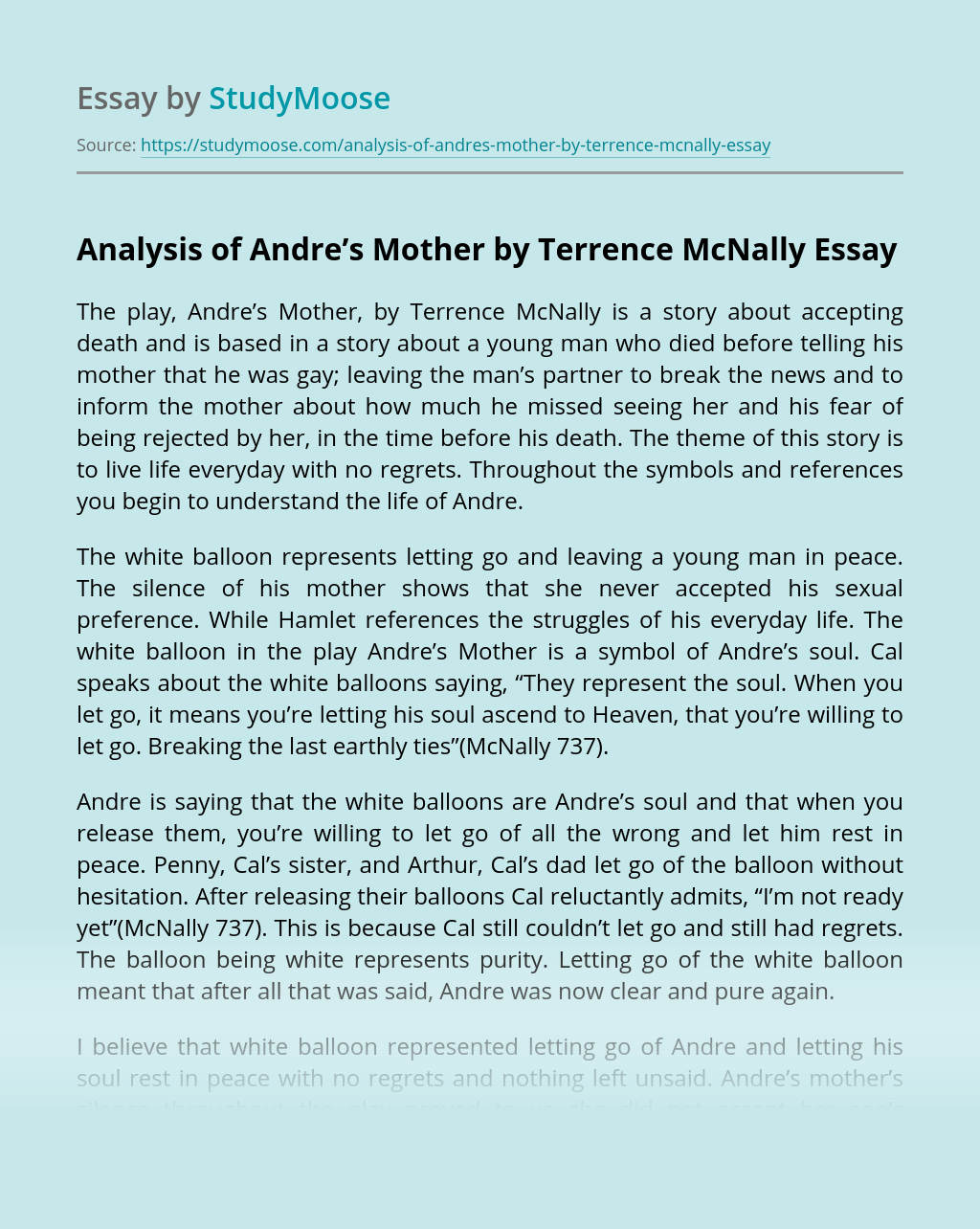 Analysis of Andre's Mother by Terrence McNally