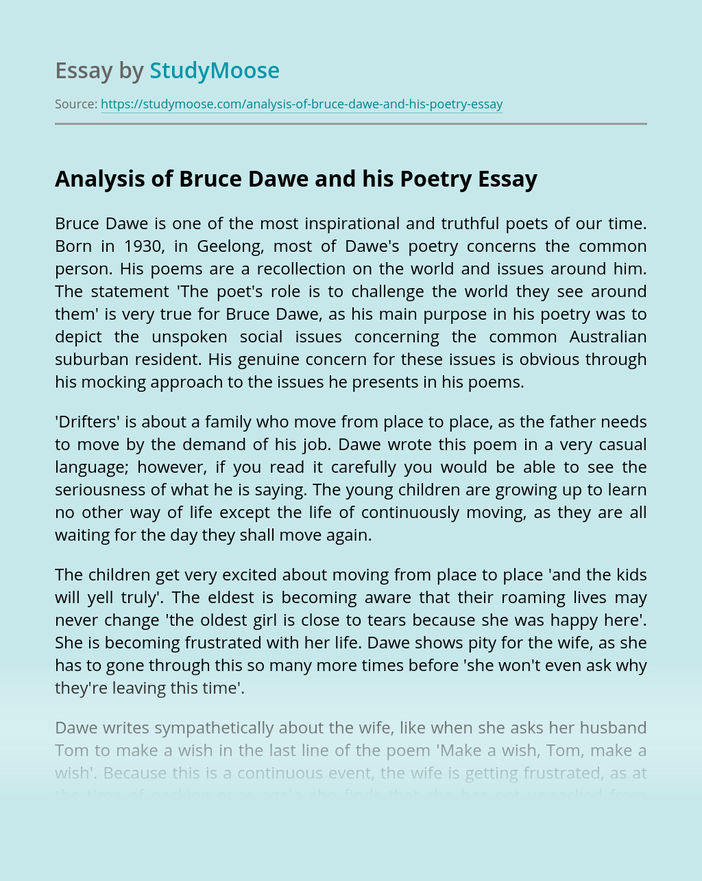Analysis of Bruce Dawe and his Poetry
