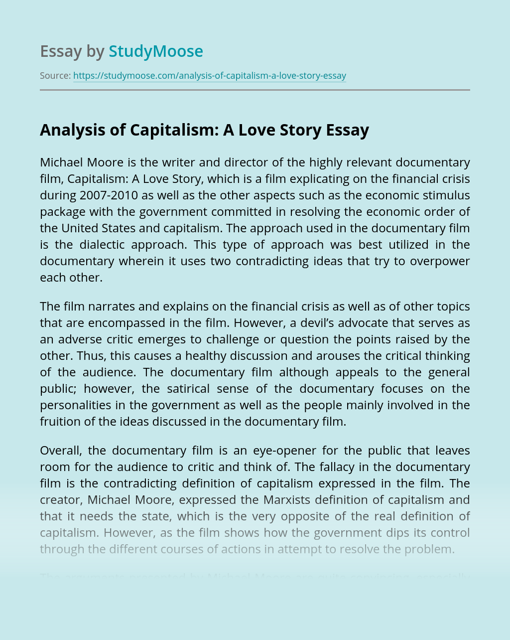 Analysis of Capitalism: A Love Story