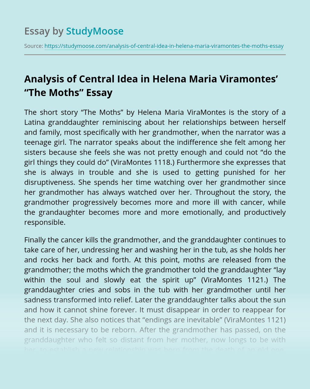 "Analysis of Central Idea in Helena Maria Viramontes' ""The Moths"""