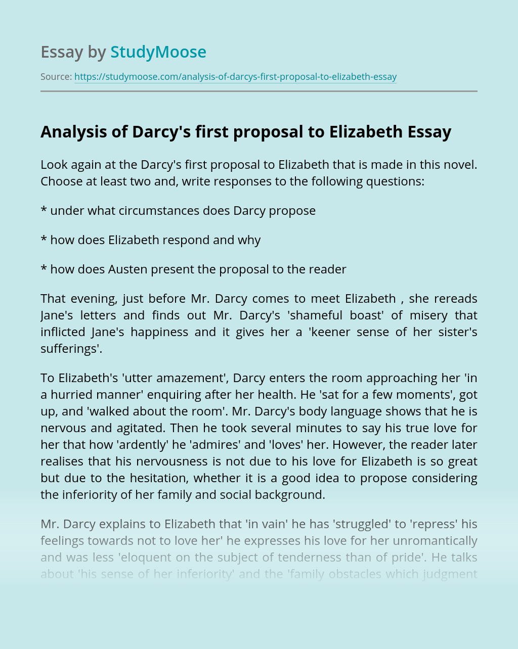 Analysis of Darcy's first proposal to Elizabeth