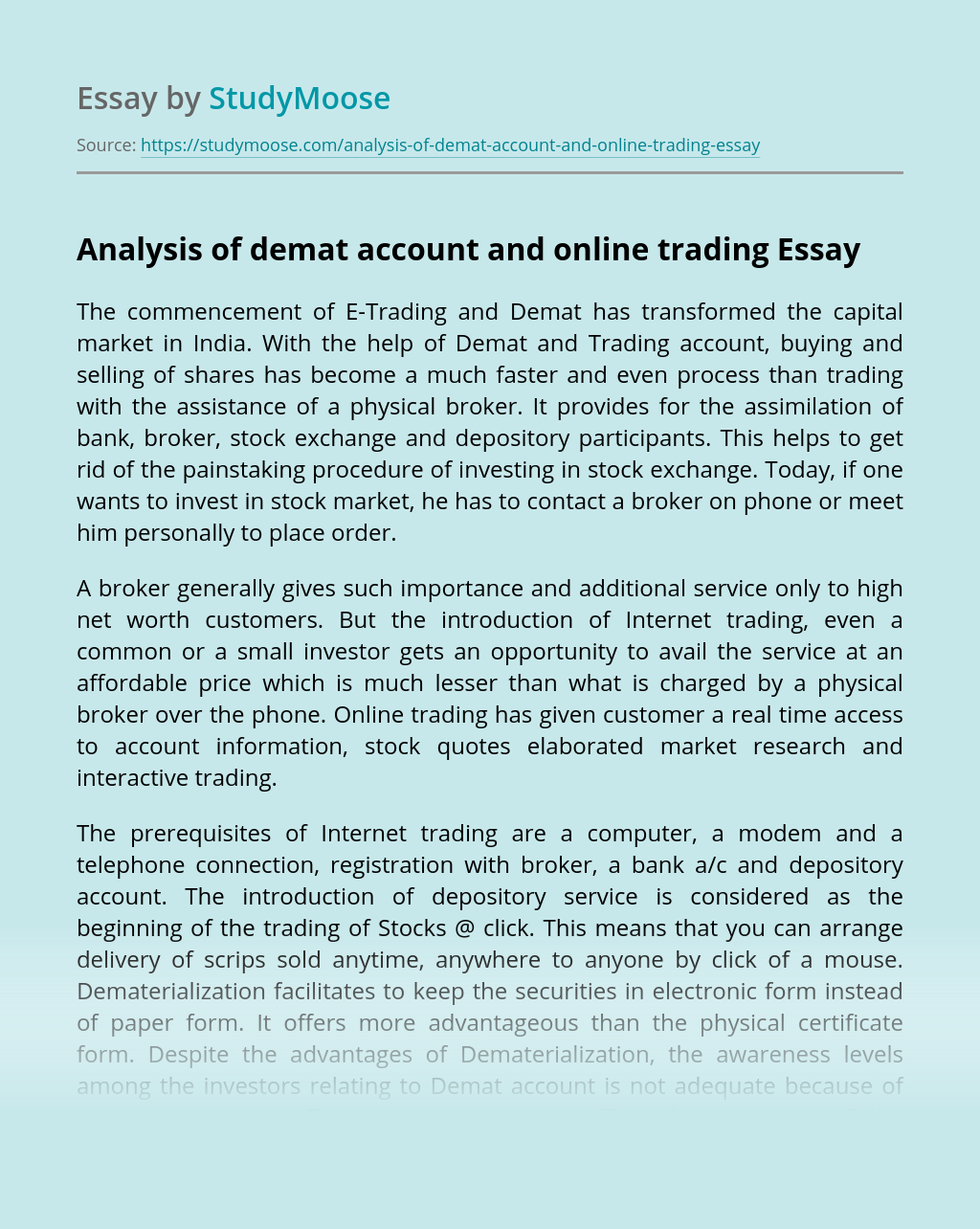 Analysis of Demat Account and Online Trading