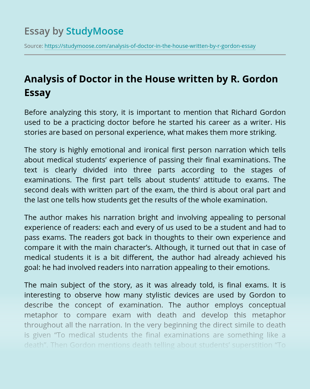 Analysis of Doctor in the House written by R. Gordon
